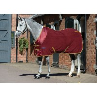 WeatherBeeta Fleece Cooler Standard Neck Travel Rug Burgundy/Gold